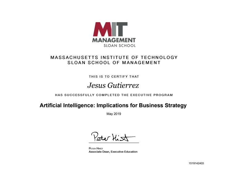 Jesús Gutiérrez ha obtenido el título Artificial Intelligence: Implications for Business Strategy